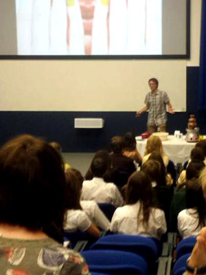 Talking chocolate at Taking Maths Further at Bournemouth University. Photo by Jo Sibley.