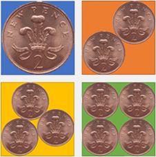 1, 2, 3, 4 coins in a square