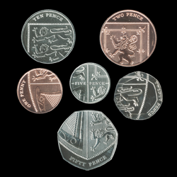 UK coins arranged in a shield
